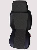 Чехлы на сиденья Сеат Инка (Seat Inca) (универсальные, экокожа+Алькантара, с отдельным подголовником) черный