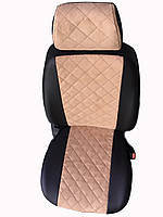 Чехлы на сиденья Фиат Гранде Пунто (Fiat Grande Punto) (универсальные, экокожа+Алькантара, с отдельным подголовником) черно-бежевый