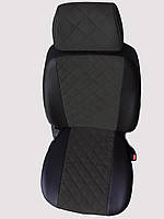 Чехлы на сиденья Фиат Гранде Пунто (Fiat Grande Punto) (универсальные, экокожа+Алькантара, с отдельным подголовником) черный
