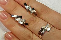 Набор женских украшений из серебра и золота - кольцо и серьги