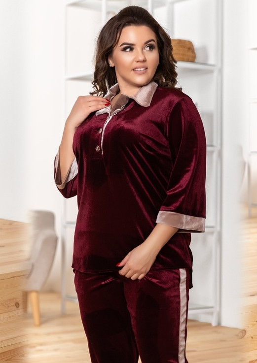 bbbf85242fba Бархатный брючный костюм женский DV-1049 - Joanna - интернет магазин одежды  в Одессе