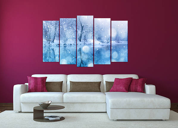 "Модульная картина ""Зимнее озеро в лесу"", фото 2"