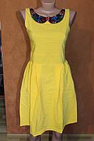 Хлопковое платья с нарядным воротничком, р. 44