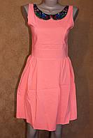 Хлопковое платья нежно-кораллового цвета, р. 44, 46