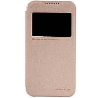 Кожаный чехол книжка Nillkin Sparkle для HTC Desire 320 золотистый