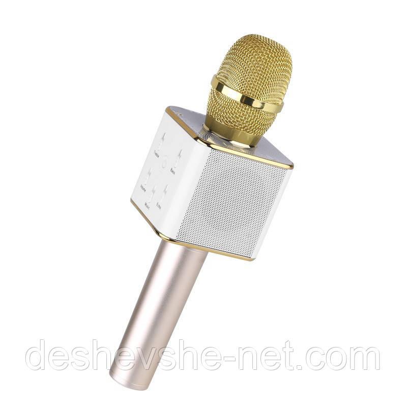Беспроводной микрофон караоке q7, gold