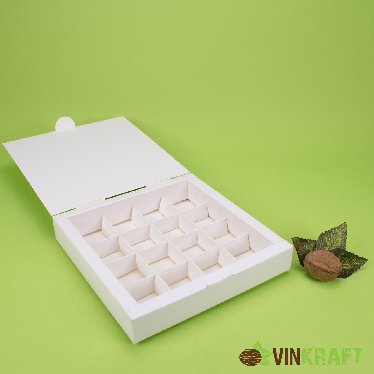 Коробка 185*185*30 для цукерок (16 шт), біла