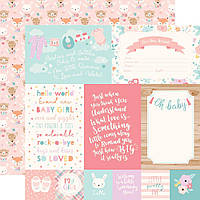 Папір двосторонній - 10х15 Journaling Cards - Hello Baby Girl - Echo Park - 30х30