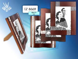 Фоторамка деревянная со стразами, для фотографий 10x15 см.