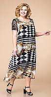 Платье Romanovich-1-1600 белорусский трикотаж, чёрно-белый с бежевым, 56