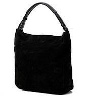 Сумка-мешок женская замшевая на одной ручке черная 717. Брендовые сумки недорого в Одессе, фото 1