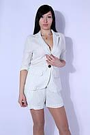 Костюм женский полоска (пиджак+шорты) белый 6801