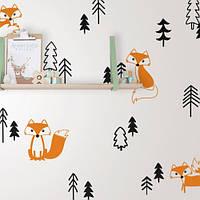 Лисицы, набор виниловых наклеек (наклейки животные лес елки звери, интерьерные стикеры на стены и обои) маленький набор, глянцевая