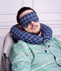 Подушка дорожная для шеи с маской EKKOSEAT. С Велюровой вставкой под шею. Клетка, Париж, Однотонная.