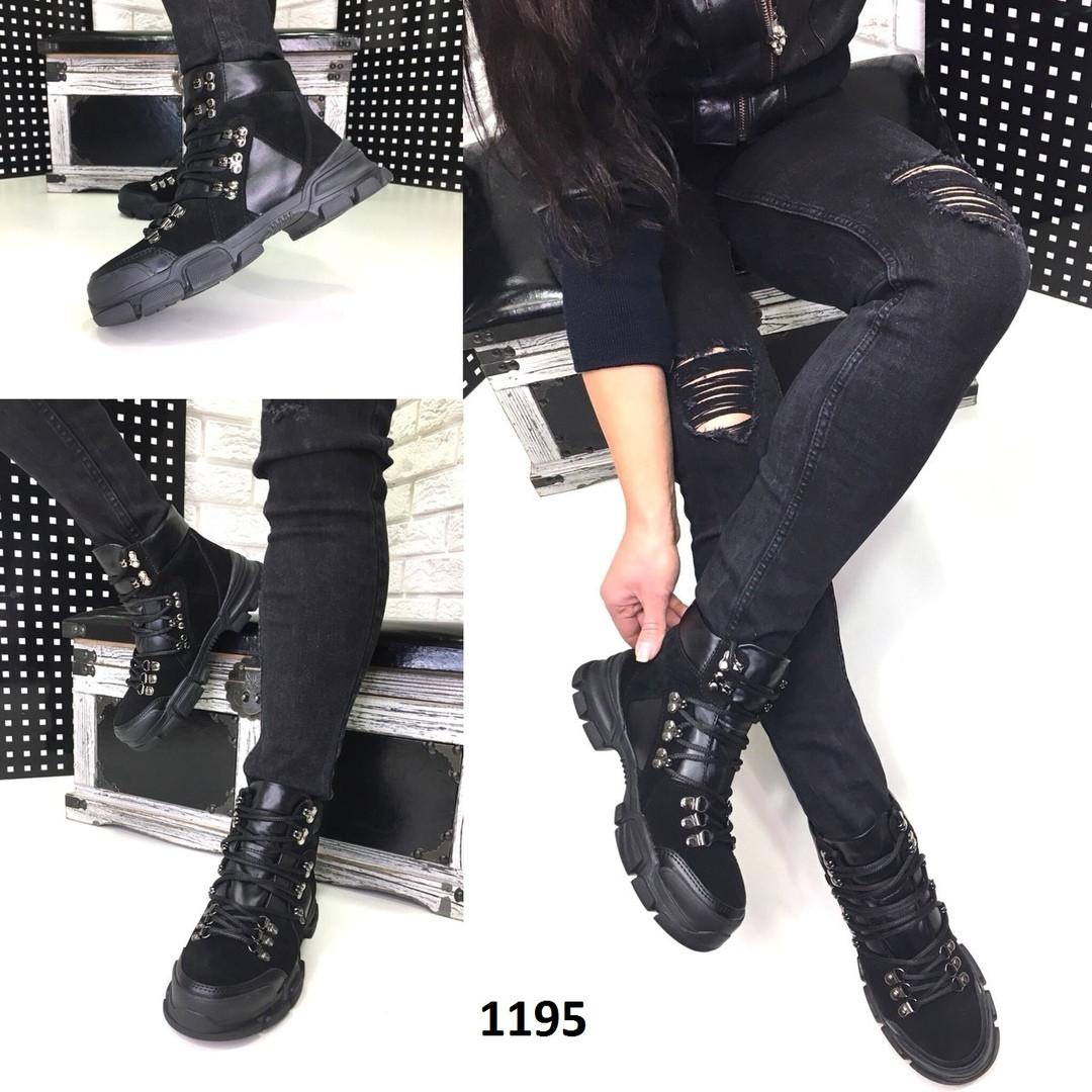 a14f345ae Ботинки женские демисезонные в стиле Gucci черные,из итальянской замши и  турецкой кожи
