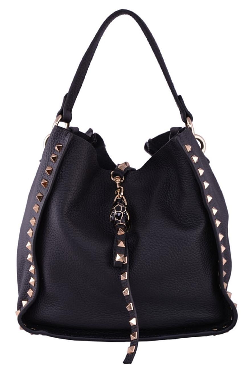 6b1c80a7a4f1 Женская кожаная сумка 6016 черный Сумка женская черная кожаная с заклепками