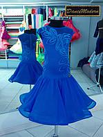 Платье для бальных танцев (бейсик). El.Blue - geo из тканей фирм «Chrisanne» и «DSI» (Великобритания)