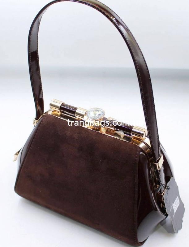 b8ae26b4c230 Женская лакированная сумка K-609 coffee купить женскую лакированную сумку