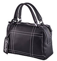Женская кожаная сумка 9650 Сумка-саквояж женская черная со строчками, фото 1