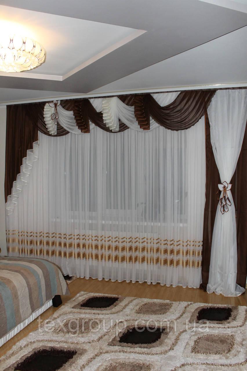 Комплект ламбрекен со шторой в спальню Агния 3.5м