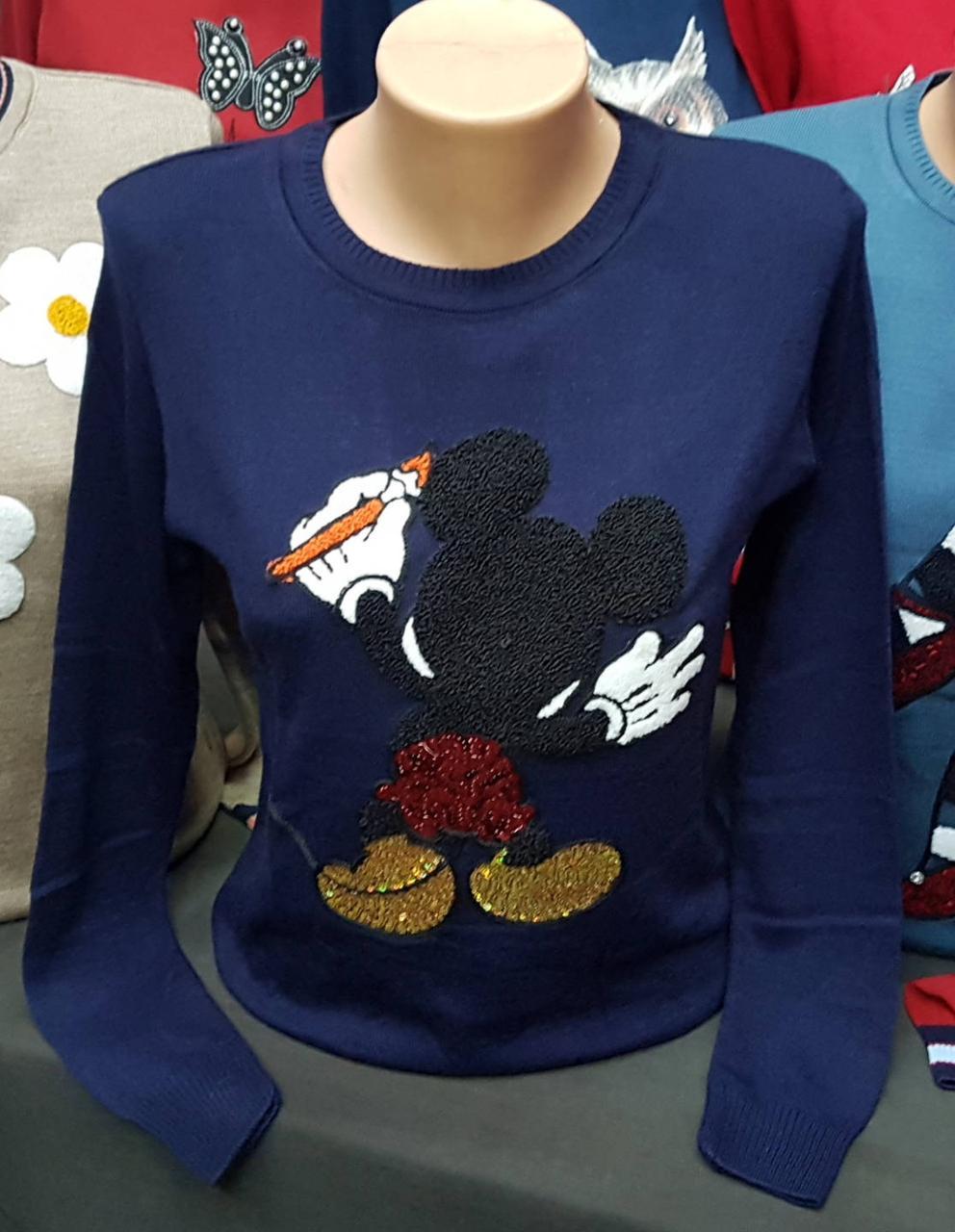 Весенняя женская кофточка «Микки Маусом»