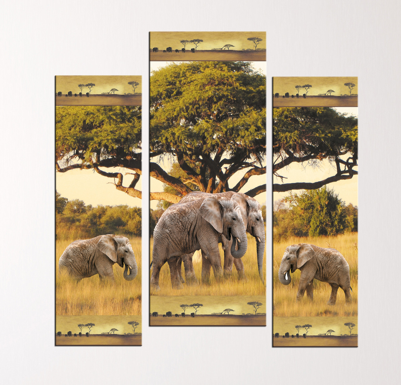 """Модульная картина """"Слоны и слоненки"""""""