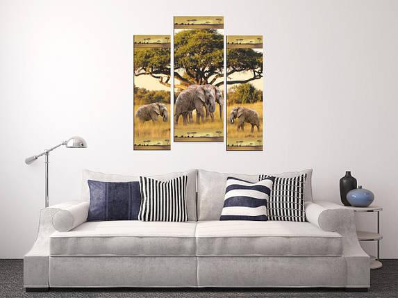 """Модульная картина """"Слоны и слоненки"""", фото 2"""