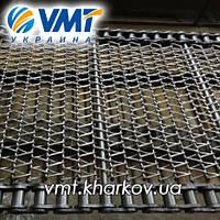 Сетка транспортерная с цепью с канилированным стержнем  Шаг цепи 25,4