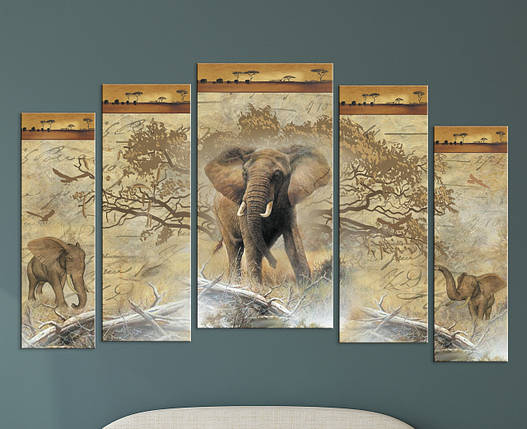 "Модульная картина ""Слон"", фото 2"