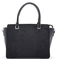 Женская замшевая сумка 7538 черная Женская сумка из натурального замша, фото 1