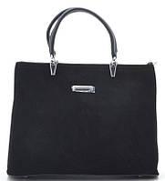 Женская замшевая сумка 881332 черная Женская сумка из натурального замша, фото 1