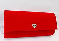 Женский праздничный клатч 100 -1 красный велюр купить праздничный клатч, фото 1