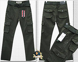 Джинсы мужские ITENO оригинал прямые с карманами цвет тёмный хаки