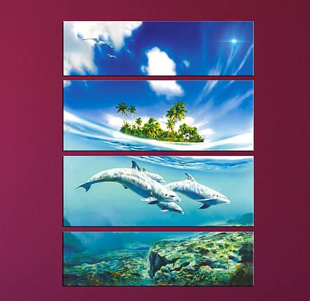 """Модульная картина """"Дельфины"""", фото 2"""