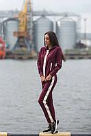 Женский замшевый спортивный костюм штаны кофта с карманами 42 44 46 48 бордовый, фото 1