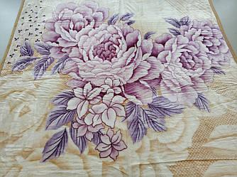 Плед акриловый двуспальный TRUE LOVE цветы пионы на песочном