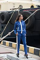 Женский замшевый спортивный костюм штаны кофта с карманами 42 44 46 48 синий, фото 1