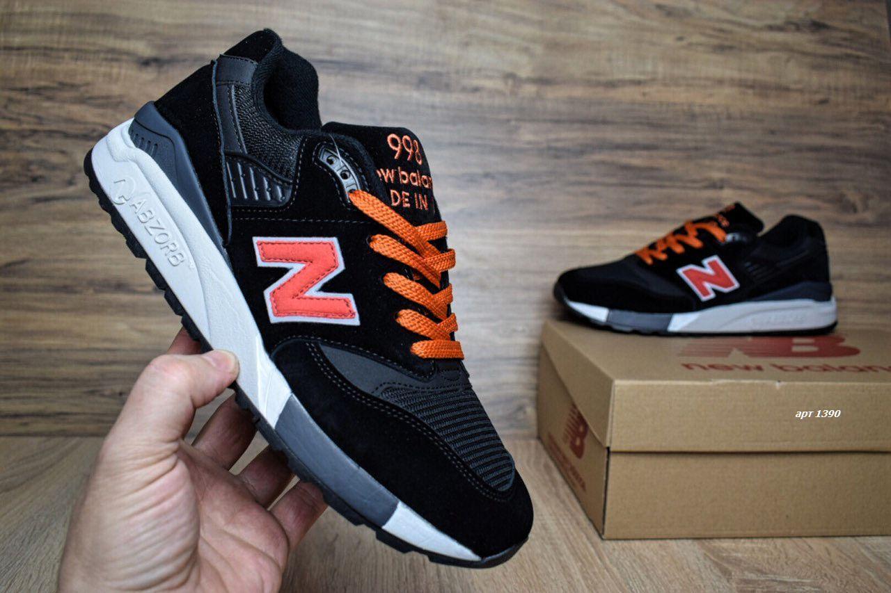 Мужские кроссовки в стиле New Balance 998 черные с оранж замша сеткаа db6c8f8f394e3