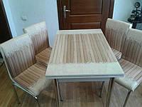 """Раскладной стол обеденный кухонный комплект стол и стулья 3D рисунок 3д """"Плед на досках"""" стекло 70*110 Лотос-М, фото 1"""
