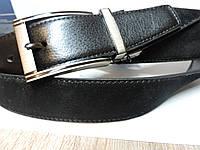 Двухсторонний  брючный ремень 3.5 см   кожа Черный / Черный замш