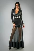 Стильное длинное платье с прозрачной юбкой, фото 1