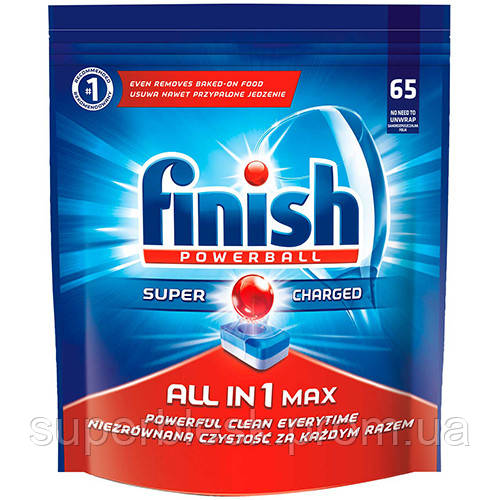 Таблетки для мытья посуды в посудомоечных машинах 65 шт, FINISH All in One Max