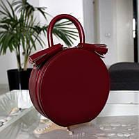 """Женская кожаная круглая сумка """"Emily"""" мини бургунди, фото 1"""