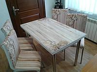"""Раскладной стол обеденный кухонный комплект стол и стулья 3D рисунок 3д """"Звезда"""" ДСП стекло 70*110 Mobilgen, фото 1"""