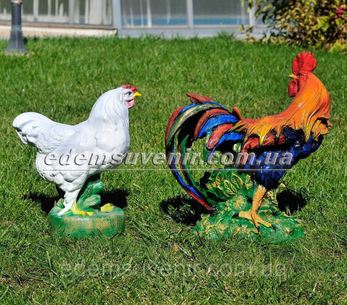 Садовая фигура Петух большой и Курица