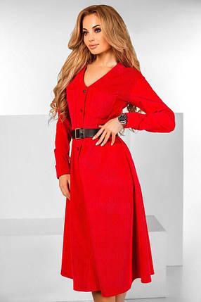 Удлиненное вельветовое платье под пояс , фото 2