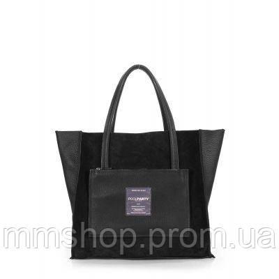 Сумка женская кожаная POOLPARTY Soho Insideout черная, фото 1