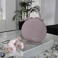 "Женская кожаная круглая сумка ""Emily"" макси розовая, фото 1"
