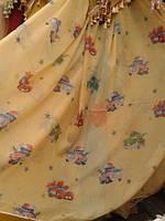 Тюль детская Тачки жёлтые.