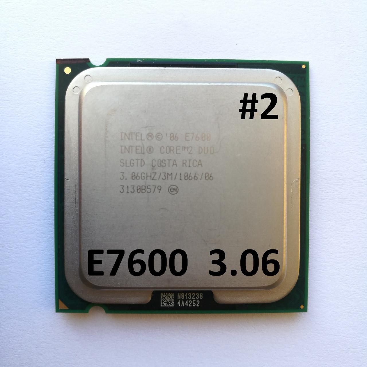 Процессор ЛОТ#2 Intel® Core™2 Duo E7600 R0 SLGTD 3.06GHz 3M Cache 1066 MHz FSB Socket 775 Б/У